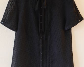 Beautiful Sheer Black Polka-Dot Blouse with Tie Detail, US Women's Size - S