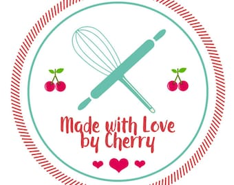 """Custom Canning Labels - Kitchen Labels - Made with Love Labels - Jam Jar Labels - Mason Jar Labels  - 1.5"""", 2"""" OR 2.5"""" round stickers"""