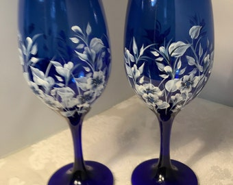 Cobalt Blue Wine Glasses with White Forget-Me-Not Flowers