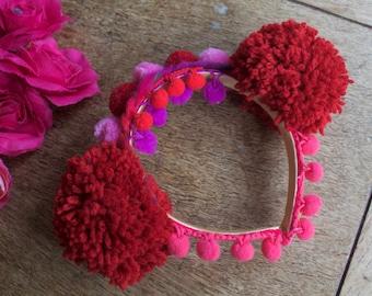 Red Teddy pompom flower ears