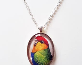 Red-capped parrot (male), 30x40mm oval pendant in silver or antique bronze, includes complimentary chain