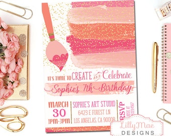 Art Party Invitation, Paint Party Invitation, Girl's Art Party Invitation, Arts and Crafts Party, Watercolor Party Invitation, Printable