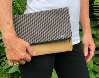 Large Foldover Leather Clutch
