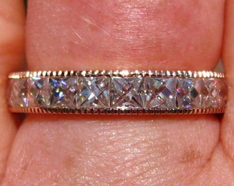 French Cut Moissanites in Rose Gold Milgrain Bezel Wedding Band, Eternity Ring