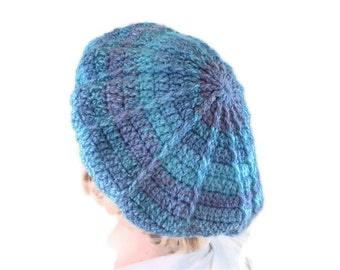 Crochet Chunky Designer Beret or Tam in Purple, Blue & Teal. Hat, Accessories.Winter Warmer, vegan
