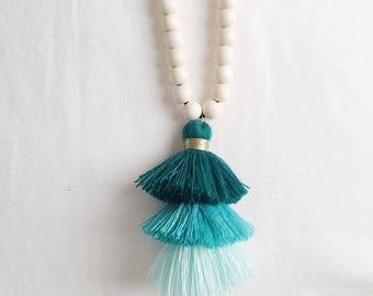 Teal Mutli Tassel Wood Bead Necklace