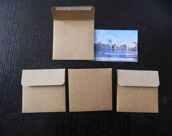4 envelopes kraft 7 x 7 cm new