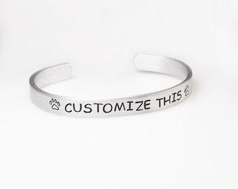 Custom bracelet, hand stamped cuff, engraved bracelet, graduation gift, aluminum cuff, graduation bracelet, boyfriend girlfriend