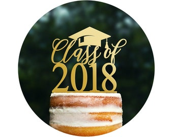Class Of Cake Topper, Custom Graduation Cake Topper, Graduation Decorations, High School Graduation Cake Topper, College Grad Party (T442)