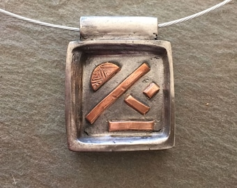 Steel and Copper Metal Clay Pendant