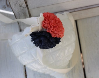 Sola Corsage, navy coral corsage, sola flowers, wedding flowers, wrist corsage, corsage, navy wedding
