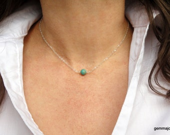 Sterling Silver turquoise necklace, Sterling Silver choker gemstone necklace, Gemstone necklace, Silver necklace, Delicate necklace, Gifts