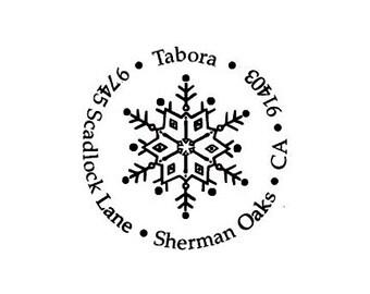 Snowflake return address custom rubber stamp