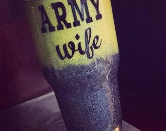 Glitter Tumbler Army Wife