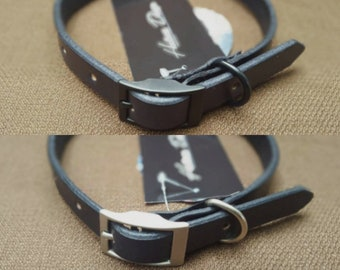 Black Handmade Leather Dog Collar
