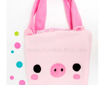 Pig Tote Bag - Schoolbag, Backpack, Bookbag, Animal Tote Bag, Reusable Bag, Beach Bag, Colorful Handmade Tote, Women's Tote, Christmas Gift