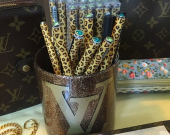Leopard Print & Jewel Cap Pen- Black Ink