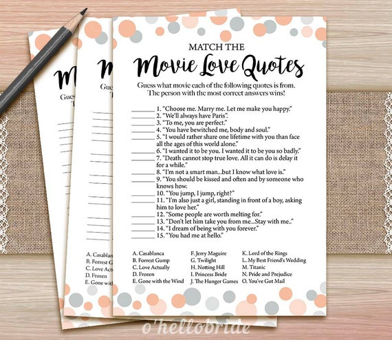 Movie love quote match game printable coral bridal shower stopboris Choice Image