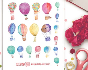Watercolour Air Balloons Stickers | Life Planners | Planner Stickers