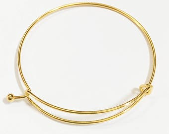 4 pcs Adjustable wire bangle, Gold plated steel bangle, bulk wire bangle 65mm