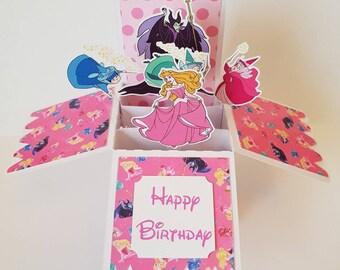 Disney Sleeping Beauty Pop up Box Card Maleficent handmade