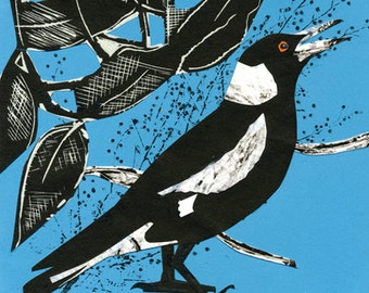 Collaged Magpie Print