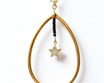 Necklace drop and star - gold color Metal