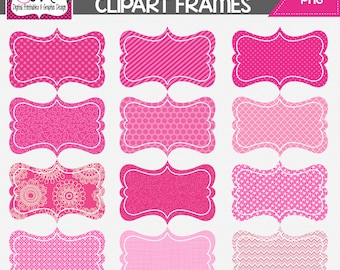 INSTANT DOWNLOAD: Hot Pink Digital Frames - Digital Tag - Clipart - Commercial Use