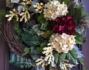 Summer Wreath, Hydrangea Wreath, Grapevine Wreath, Elegant Wreath, Front Door Wreath
