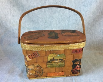 Vintage Woven Basket Decoupage Purse, World Traveler Bag