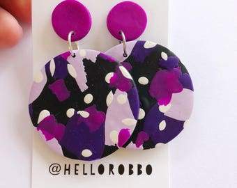 Pantone ultra violet - Polymer clay statement dangle earrings