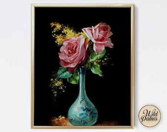 Rose Vase - Vintage Style - Art Print