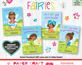 Fairy Valentine Cards | Printable Classroom Valentines | Classroom Exchange Cards | African American | By Paper Craft Valentines
