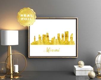Miami Skyline - Miami Art - Miami Print - Gold Miami Print - Gold Foil Skylines - Office Decor - City Skyline - Gold Foil Print - City Art