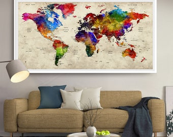 Cotton anniversary gift push pin world map travel world push pin world map travel push pin map gifts for him paper anniversary gift travel gifts for couple l91 gumiabroncs Gallery