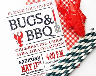 Crawfish Boil DIGITAL INVITATION | Crawfish Boil Birthday | Bugs BBQ Invitation| Barbecue Bugs Beer | Crawfish Graduation Party Engagement