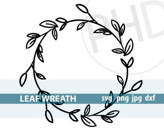 Leaf Wreath File-svg, png, jpg, dxf