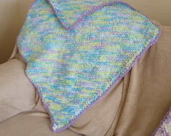 Handmade Baby Blanket for Pram, Buggy, Stroller, Moses Basket, Play Mat. Soft, Fluffy & very Cuddly. Hand Knitted in UK