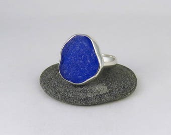 Large Cobalt Blue Sea Glass Bezel Ring Maine Size 10