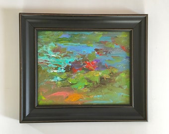 Abstract Lilypond Painting  -Contemporary- 8 x 10- Framed in Black Frame-  Painting- Original Painting -Canvas/Wood Panel