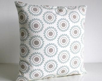 Geometric Pillow Cover, Accent Pillow, Cushion Cover, Geometric Pillow Sham, Sofa Pillow, Pillowcase - Cogs Pale Blue