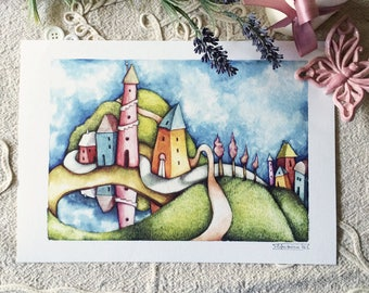 """Mirrored houses - Watercolour illustration, from the """"Little houses"""" series, by Elisa Ansuini"""
