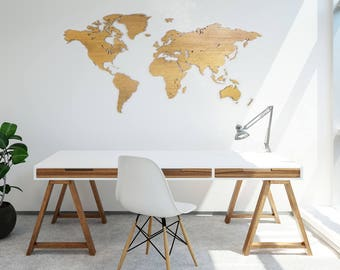 Wooden worldmap OAKS wood - wall decoration - 6mm thick - 200cm x 100cm - 15mm wall distance