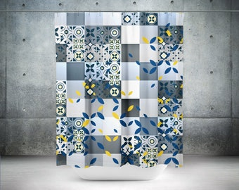 Spanish Tile Shower Curtain,Abstract Curtain,Spanish Shower Curtain,Large Shower Curtain,Tile Curtain