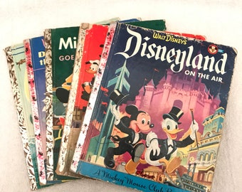 Vintage Disney Mickey Mouse Club And Little Golden Book Lot