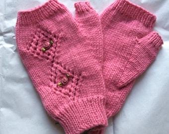 Fingerless Gloves — Tipless Finger Gloves — Knit Fingerless Gloves — Fingerless Mittens — Pink Fingerless Gloves — Lace Fingerless Gloves