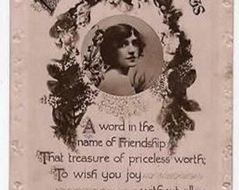 Vintage Real Photo Postcard,Birthday,GLAMOUROUS Woman,Lovely Fashion,Hairstyle, Flowers,Lilywhite, Posted 1919