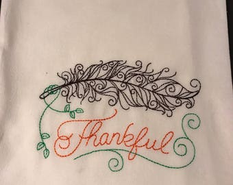 Thankful pick your color of tea towel beige or white