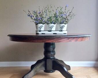 Large Oak Pedestal Coffee Table