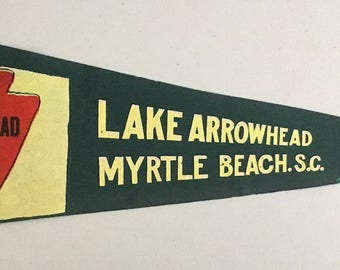 Vintage 'Lake Arrowhead By The Sea, Myrtle Beach, SC' South Carolina Pennant